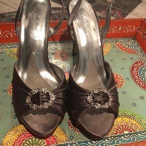 Shoes - Steel grey platform heels